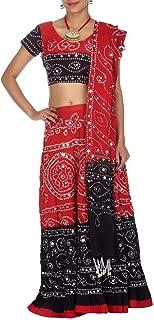 Red Cotton Casual Women's Bhandej Lehnga