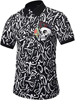 Men's Skull Polo Shirt, Personality Mens Letter 3D Print Casual Slim Short-Sleeved Top Blouse