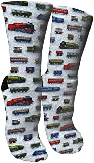 Train Cars Compression Socks Unisex Printed Socks Crazy Patterned Fun Long Cotton Socks Over The Calf Tube