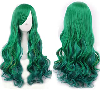WeeH Costume Women Wigs Long Hair Cosplay Wig Spiral Curly Wavy Wigs for Wedding Party, Turquoise