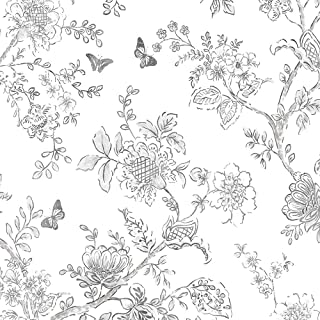 Norwall FH37540 Butterfly Toile Prepasted Wallpaper, Grey, Black, White, Charcoal