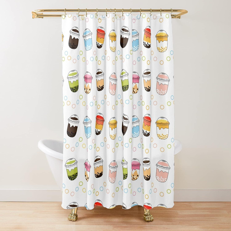 Cute Bubble Tea Fabric Shower Bathro Customize Daily bargain sale Curtains Printed Max 62% OFF