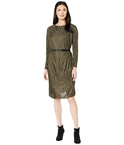 Sam Edelman Belted Plisse Dress (Olive) Women