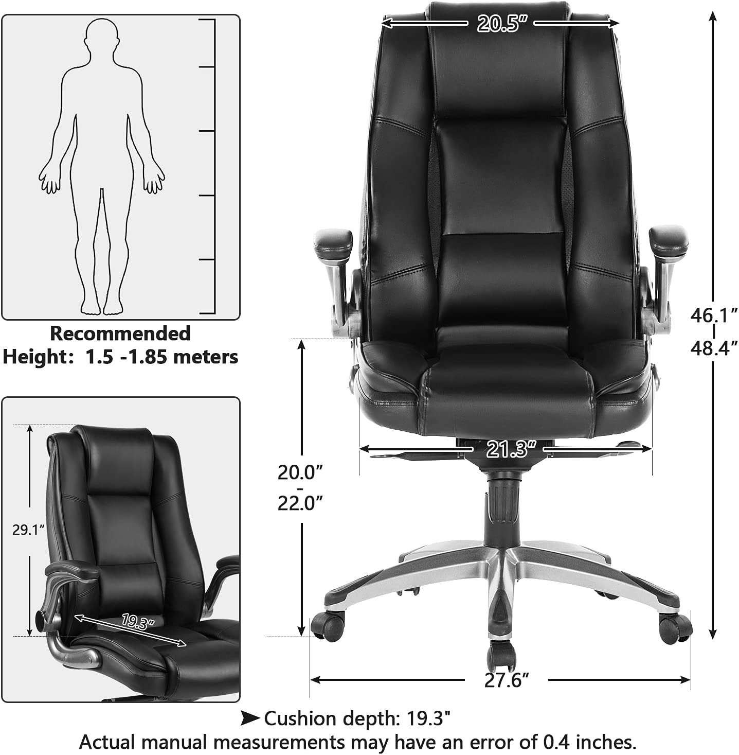 Buy Ergonomic Executive Home Office Chairs High Back Swivel Computer Desk Chairs With Flip Up Arms And Height Adjustment Office Task Desk Chair Swivel Home Comfort Chairs Black Online In Germany B0967zzghh