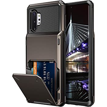Vofolen Case for Galaxy Note 10+ 10 Plus Case Wallet 4-Slot Pocket ID Card Holder Scratch Resistant Dual Layer Protective Bumper Rubber Armor Hard Shell Cover for Samsung Galaxy Note 10 Plus Gun Metal
