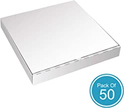 White Pizza Boxes by HTTP - 14 x 14 Pizza Box Size, Corrugated, Kraft – 50 Pack
