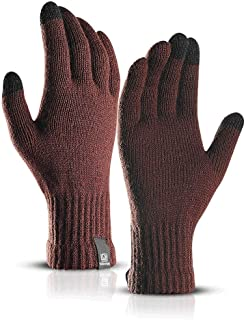 Knitted Wool Gloves for Men and Women in Autumn and Winter Touch Screen Simple Solid Color Warm Plus Velvet Students Korean Version of Riding Driving (Color : Brown)