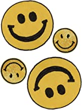 4 Pack Jumbo Emoji Iron on Patches Sew Embroidered Sequin Appliques Embellishments for DIY Motif Family Xmas Tops Home Decor