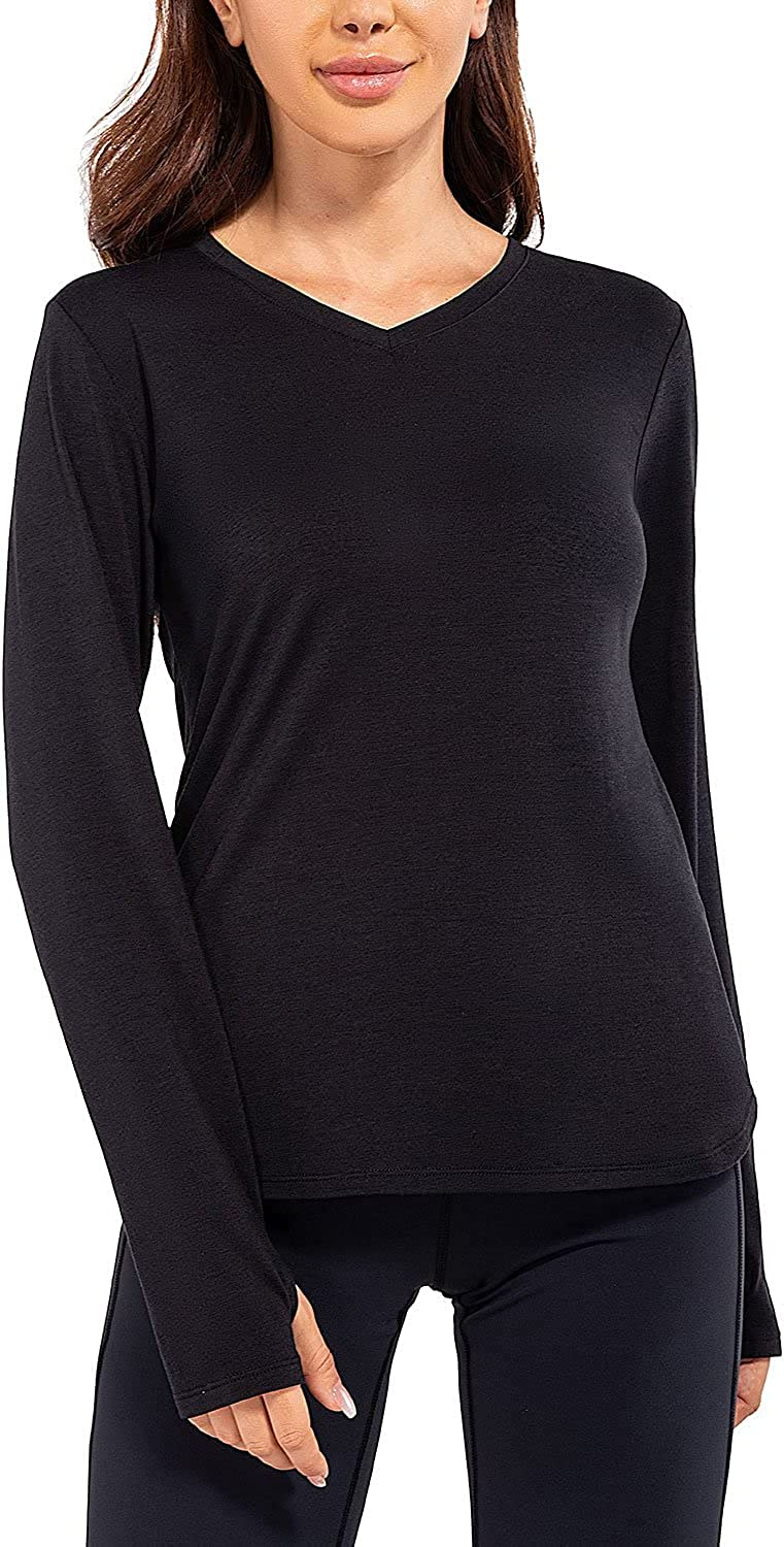 Baleaf Women's Long Sleeve Tunic Tops with leggings V-Neck UPF 50+ Quick Dry Casual Shirts for Work