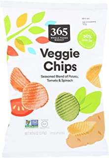 365 by Whole Foods Market, Veggie Chips (Seasoned Blend of Potato, Tomato & Spinach), 6 Ounce