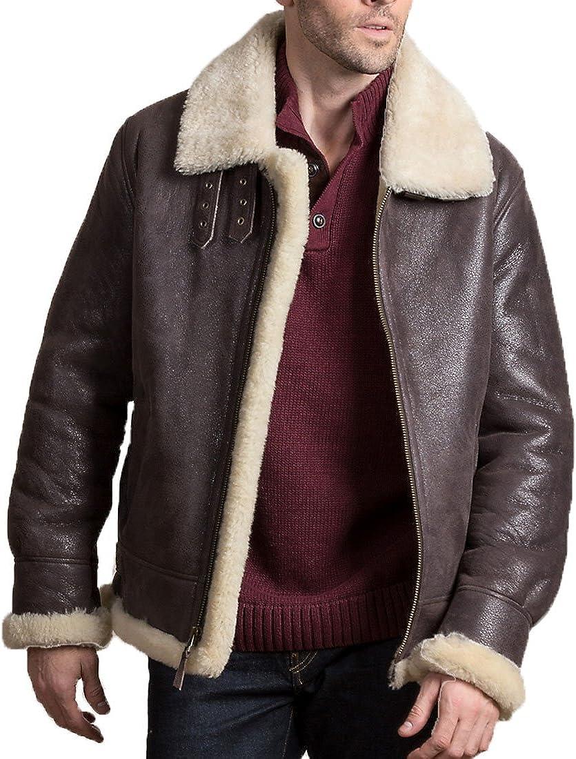 Men's Brown Leather Shearling B-3 Flight Bomber Farrier Fur pilot costume Coat