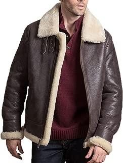 Mens Brown Leather Shearling B-3 Flight Bomber Farrier Fur Swedish Jacket Coat