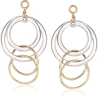 14kt Yellow Gold and Sterling Silver Circle Drop Earring Jackets