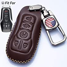 Romeo's Memory Remote Leather Key Keyless Entry Shell Case Fob and Key Skin Cover fit for Ford Mustang Fusion Lincoln MKZ MKC F-450 F-150