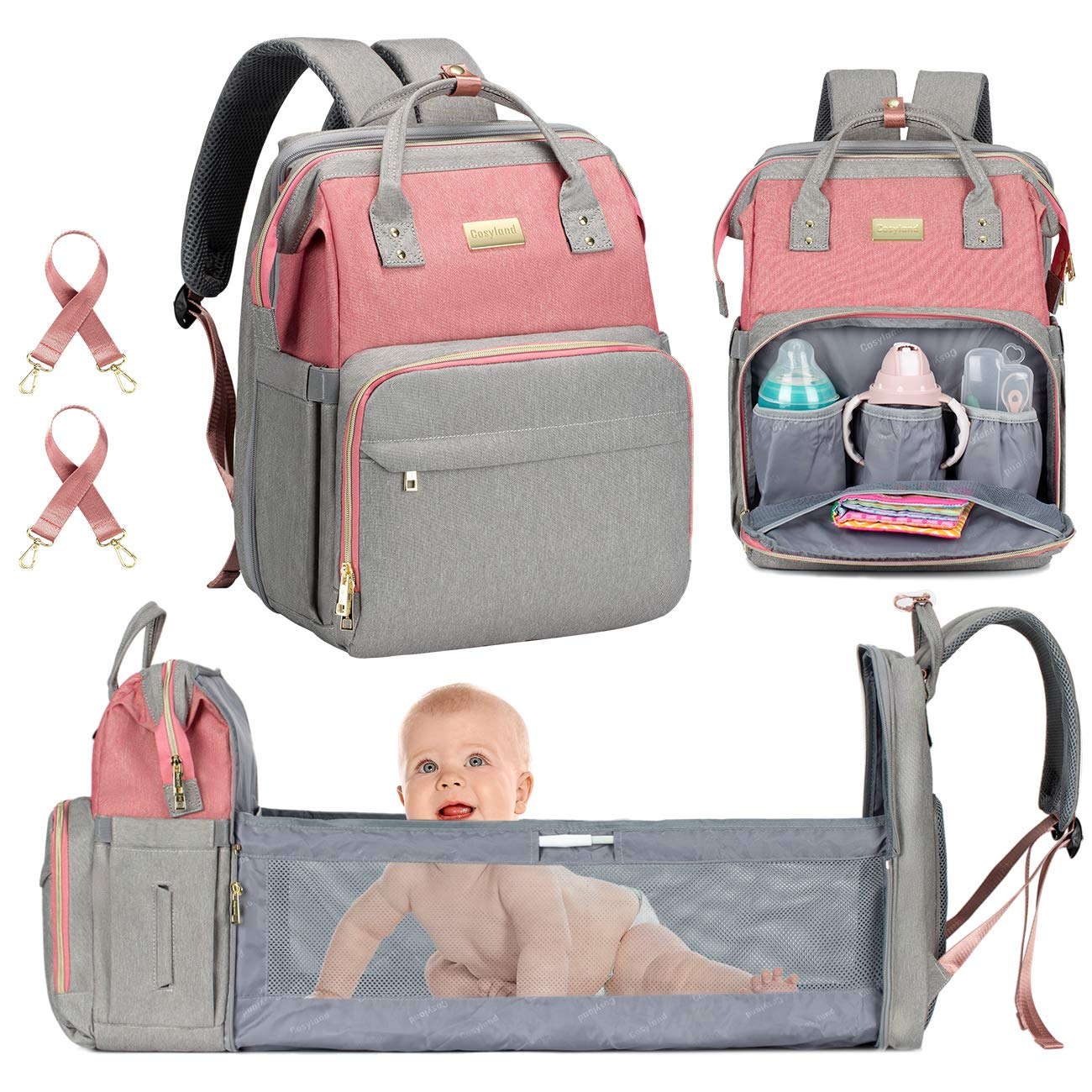 Diaper Bag Backpack with Bassinet Foldable Bed, COSYLAND Travel Changing Station, Mom Nappy Maternity Bag with Stroller Straps, Large Capacity for Dad Mom Girls, Pink Grey