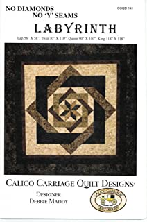 "Labyrinth Quilt Pattern, No Diamonds or ""Y"" Seams, 4 Size Options"