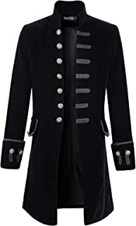 Mens Velvet Goth Steampunk Victorian Frock Coat