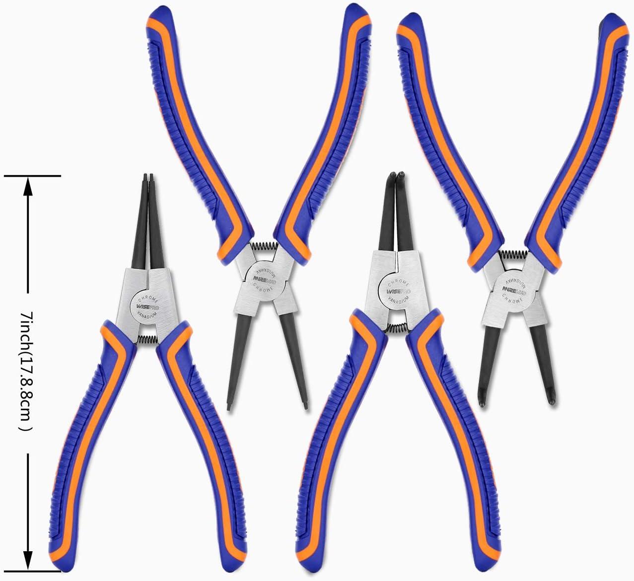 gris Juego de 4 alicates de anillo a presi/ón con mand/íbula recta//doblada para retenci/ón de anillo externo//interno WISEPRO