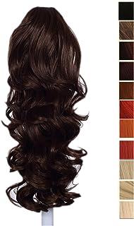 Prettyland - DH254 pelo largo Extensión de cabello, Peluca Cola de Caballo ondulada con clips- marrón /0W83