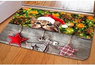Dellukee Christmas Doormats Cute Cat Wear Hat Pattern Indoor Outdoor Funny Non Slip Durable Washable Home Decorative Door Mats Bath Rugs for Entrance Bedroom Bathroom Kitchen, 23 x 16 Inches