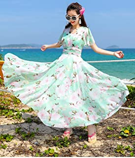 ABDKJAHSDK Summer New Bohemian Style S-Xxxl V-Neck Flared Sleeve Ladies Chiffon Maxi Dress