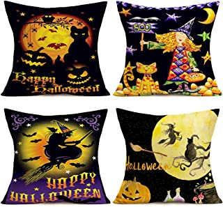 Doitely 4 Pack Happy Halloween Funny Pumpkin Witch with Broomstick Throw Pillow Covers Cushion Case 18