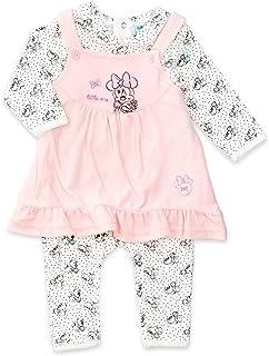 Disney Baby Set Mädchen weiß rosa | Motiv: Minnie Mouse | Baby Strampler mit Kleid für Neugeborene & Kleinkinder | Größe: 3-6 Monate 68