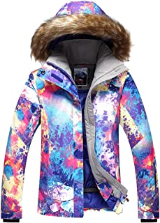 Ski Snowboard Jacket, Warm Lined Jacket for Women, Windproof Waterproof Coats for Skiing and Snowboarding, Parka Ideal for Winter