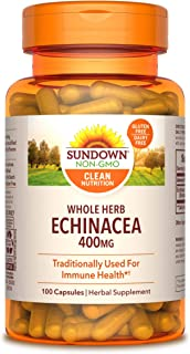 Whole Herb Echinacea by Sundown, Herbal Supplement, Supports Immune Health, 400 mg, 100 Capsules