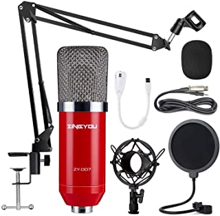 ZINGYOU Condenser Microphone Bundle, ZY-007 Professional Cardioid Studio Condenser Mic Include Adjustable Suspension Scissor Arm Stand, Shock Mount and Pop Filter, Studio Recording & Broadcasting