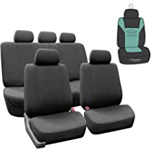 FH Group FB052115 Full Set Multi Functional Flat Cloth Car Seat Covers, Airbag Ready and Split, Charcoal Color - with Gift - Universal Car, Truck, SUV, or Van