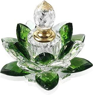 JQJ Crystal Perfume Bottles Empty Lotus Flower Figurines Gifts for Women (Green)