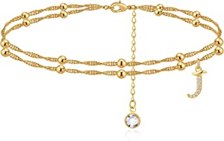 MONOOC Initial Ankle Bracelets for Women, 14K Gold Plated Dainty Layered Beaded Letter Anklet with Initials Cute Boho Summ...