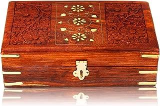 The Great Indian Bazaar Handmade Decorative Wooden Jewelry Box With Rustic Lock Jewelry Organizer Keepsake Box Memory Box Treasure Chest Trinket Holder Lock Box Watch Box 8 x 5 Inch