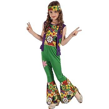 Generique - Disfraz de Hippie Flower Power niña 4-6 años (104/116 ...