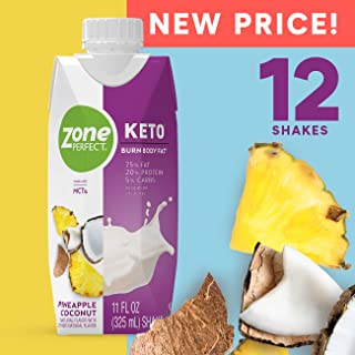 ZonePerfect Keto Shake, Pineapple Coconut Flavor, True Keto Macros, Made With MCTs, 11 fl oz, 12 Count