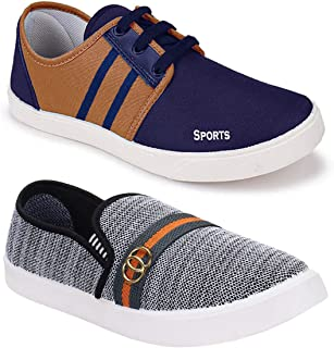Shoefly Men's Multi-Coloured Canvas Casual Shoes/Loafers - Pack of 2 (Combo-(2)-1032-5014)