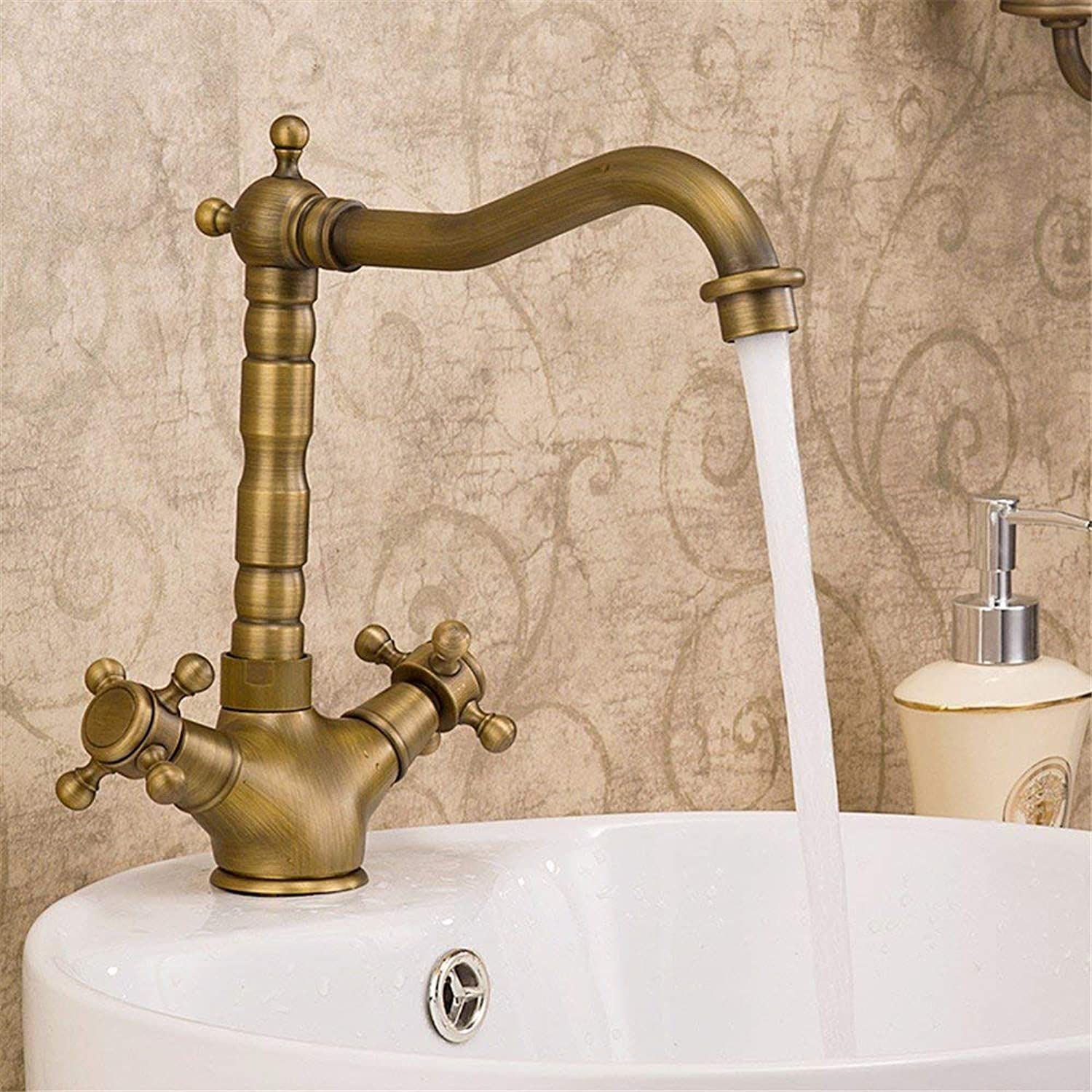 Copper double handle hot and cold water faucet retro swivel tap (color   -, Size   -)