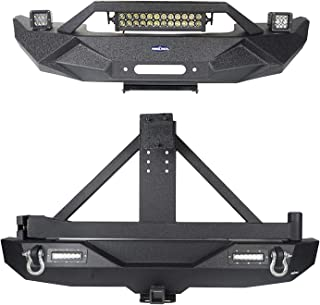 Hooke Road Jeep JK Bumpers Front and Rear - Blade Master Front Bumper & Different Trail Rear Bumper w/Tire Carrier Kit for 07-18 Jeep Wrangler JK