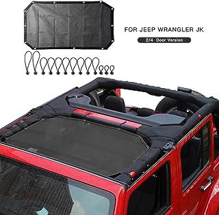 Mesh Sunshade Bikini Top Sun Shade UV Protection for 2007-2018 Jeep Wrangler JK JKU 2 Door 4 Door (Plain Black)