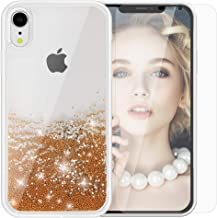 SanLead Phone Case for iPhone XR Quicksand Electroplated Beads Cover for Girls Anti-Scratch Shockproof TPU and PC with Screen Protector Compatible (iPhone XR, Gold)