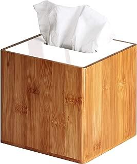JackCubeDesign Bamboo Square Tissue Box White Acrylic Cover Holder Case Kleenex Storage Case Stand Box Napkin Holder Organizer (5.83 x 5.83 x 5.67 inches)-:MK340A