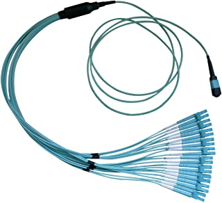 Plenum Fiber Optic Cable, 100 Gigabit Ethernet CFP/CXP 100GBase-SR10 to MTP(MPO)/LC (10 Duplex LC) 24 inch Breakout Cable, OM3, 50/125, 30 Meter by Konnekta Cable
