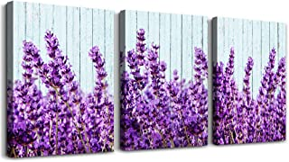 purple lavender Wall Art for Living Room Canvas Prints Artwork Bedroom wall decorations inspirational flowers watercolor wall Painting, 12x16 inch/piece, 3 Panels Home bathroom Wall decor posters