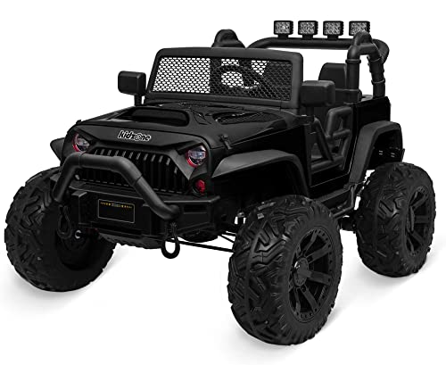 new arrival Kidzone Kids 24V Battery Powered Extra Wide Seat Ride On lowest Truck w/ DIY License Plate, EVA Tires, Front Bumper, LED Light, Remote Control, Bluetooth, 2 outlet online sale Speeds - Black sale