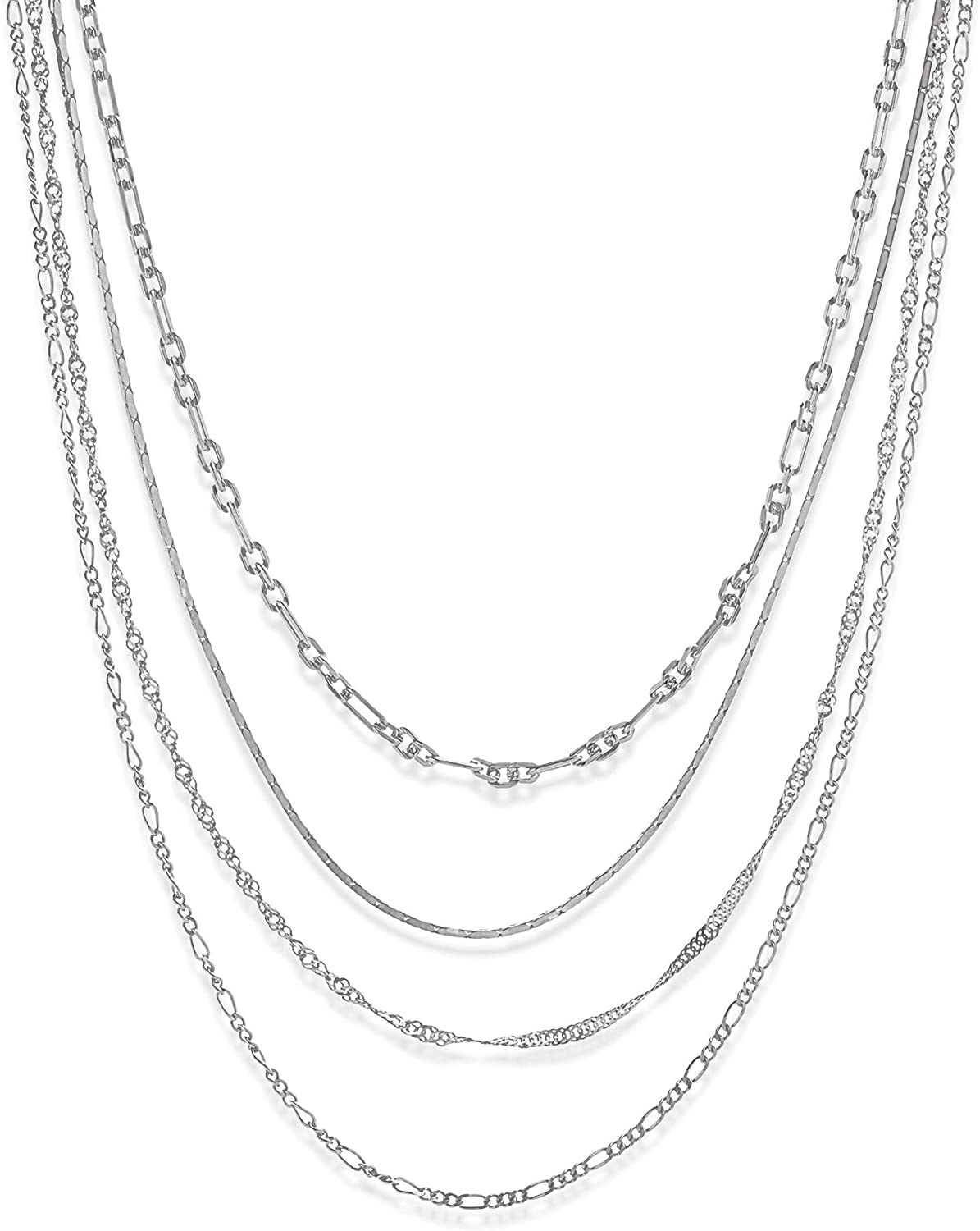 AUBREY LEE Multiple Chain Layered Choker Necklace for Women in Rhodium Plated Brass