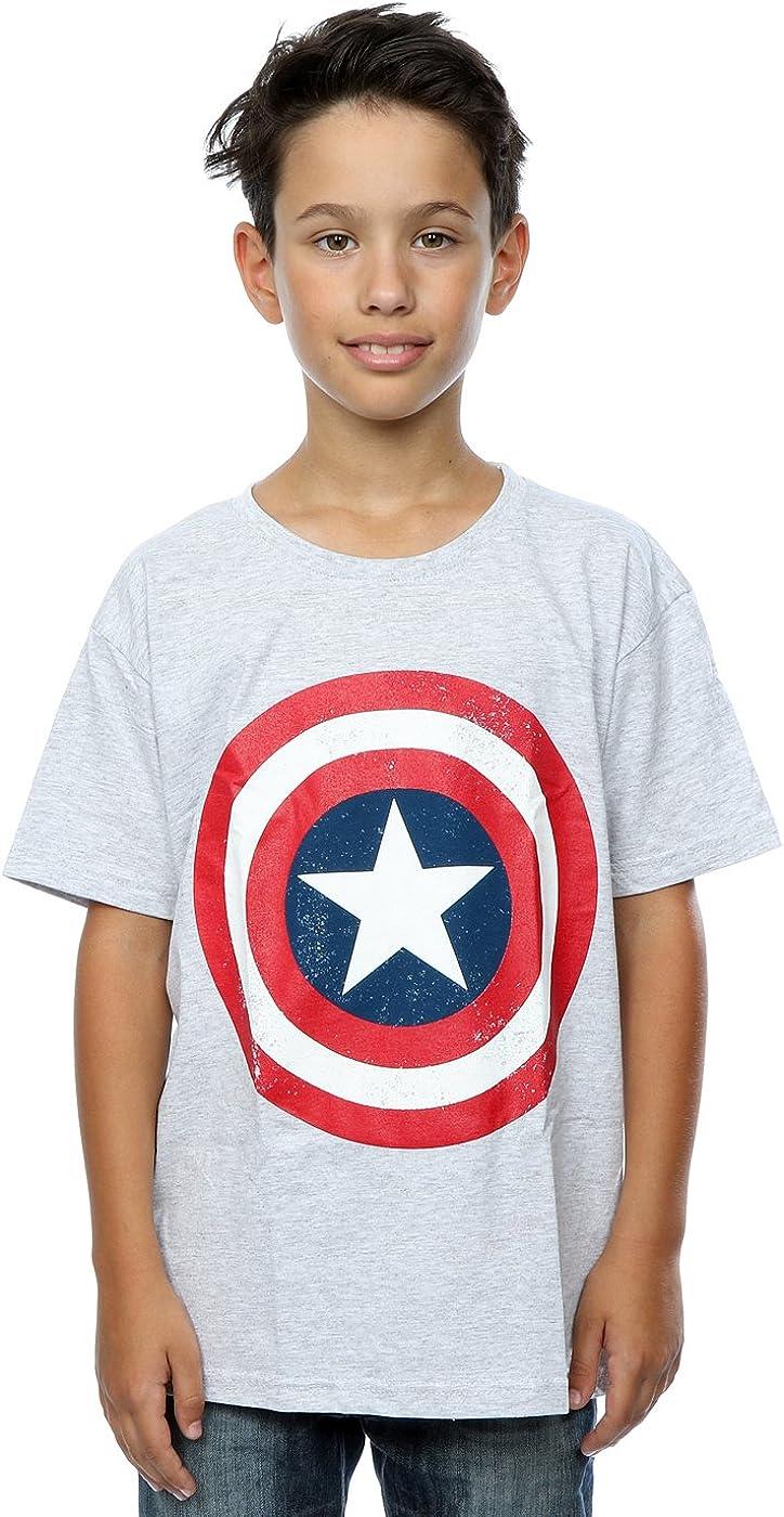 Marvel Boys Captain America Distressed Shield T-Shirt 12-13 Years Heather Grey