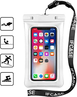 Universal Waterproof Case, IFCASE IPX8 Floating TPU Phone Dry Bag Pouch for iPhone Xs Max/XS/XR/X, Samsung Galaxy S10/S9/S8/S7 Edge/J7/J3, Galaxy S10 5G - 2 Pack White