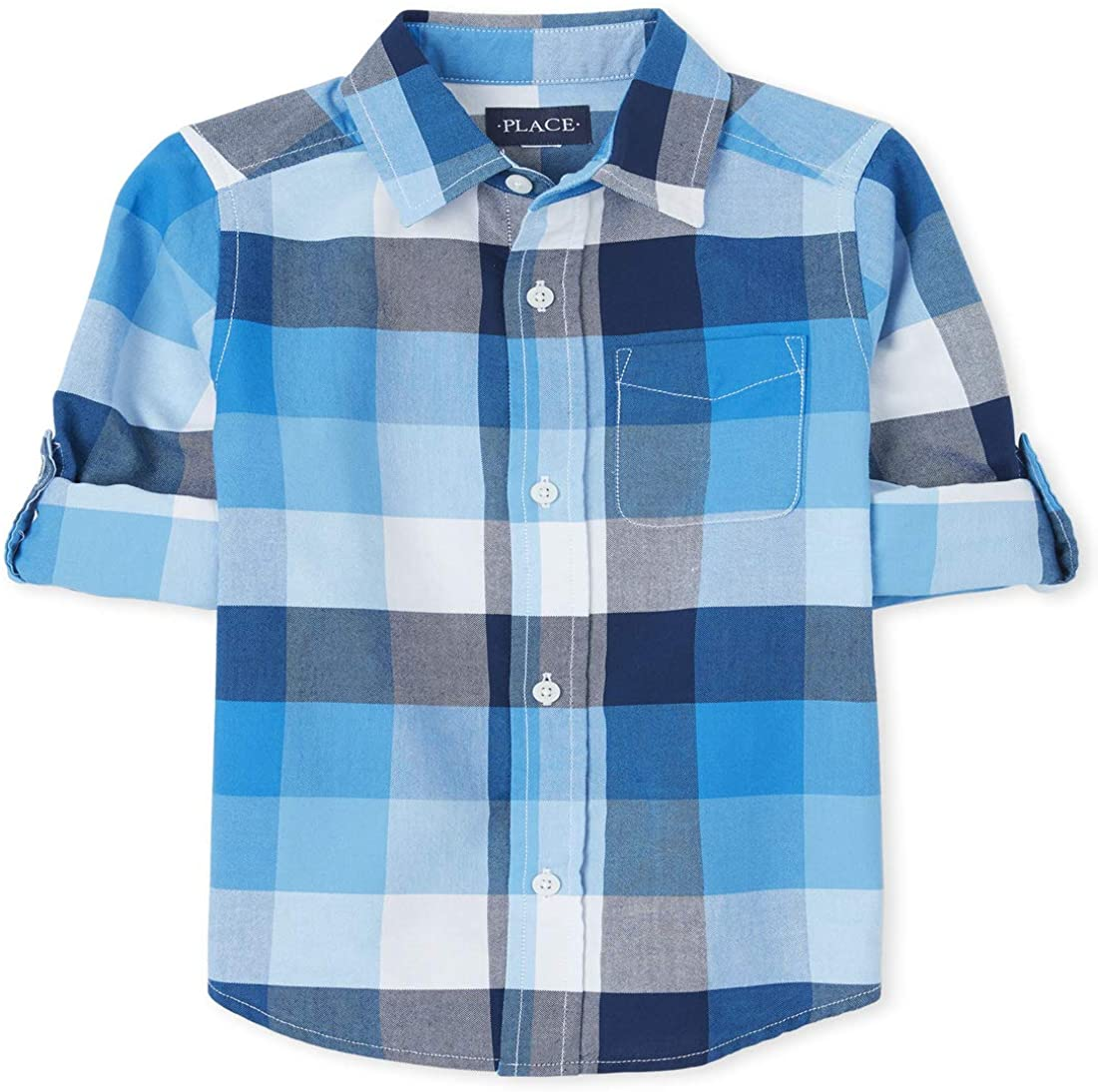 The Children's Place Boys' Check Button Cheap super special price Shirt Down In stock Oxford