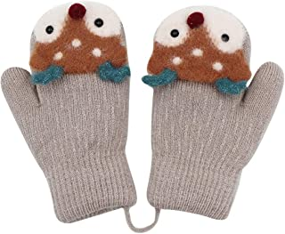 Unisex Toddler Kids Winter Knit Mittens Thick Plush lined Gloves with String Squeeze Sound Christmas Elk Pattern
